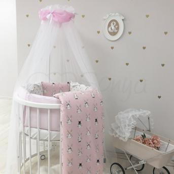 Комплект Shine Алиса (7 предметов) для круглых кроваток Маленькая Соня розовый