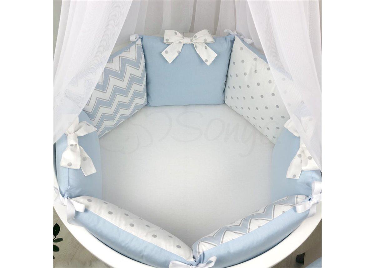 Комплект Shine зигзаг (6 предметов) для круглых кроваток Маленькая Соня голубой
