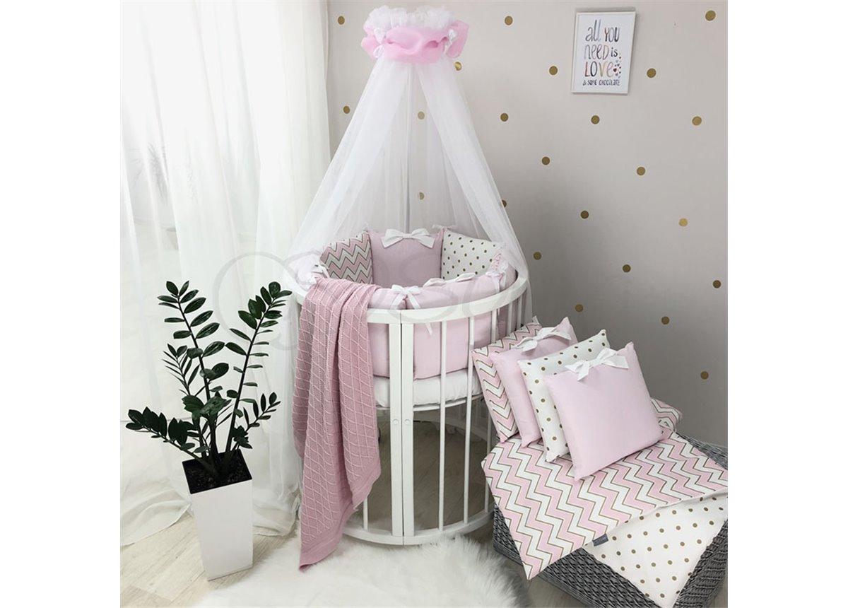 Комплект Shine зигзаг (7 предметов) для круглых кроваток Маленькая Соня розовый