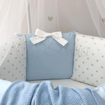 Комплект Shine Сердечко (6 предметов) для круглых кроваток Маленькая Соня Голубой