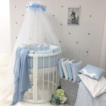 Комплект Shine сердечко (7 предметов) для круглых кроваток Маленькая Соня голубой