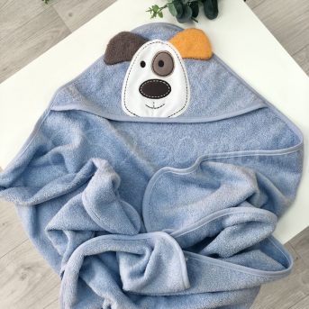 Полотенце - уголок Собачка голубой 80x100 Маленькая Соня