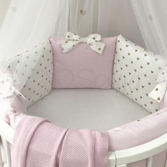 Комплект Shine Сердечко (6 предметов) для круглых кроваток Маленькая Соня Розовый