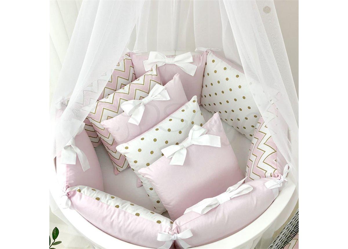 Комплект Shine зигзаг (6 предметов) для круглых кроваток Маленькая Соня розовый