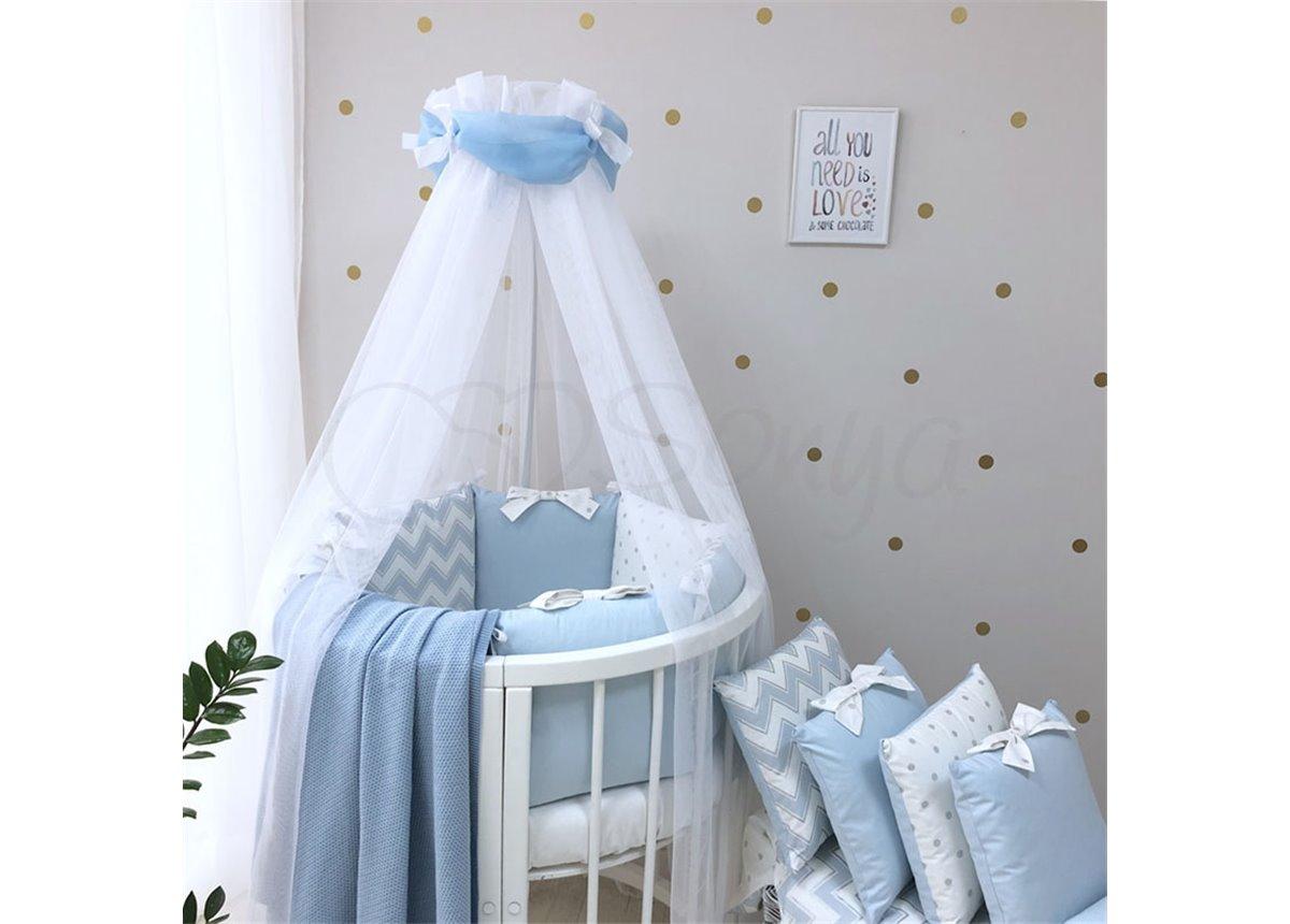 Комплект Shine зигзаг (7 предметов) для круглых кроваток Маленькая Соня голубой