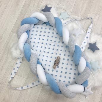Кокон-трансформер бортик-коса Серо-голубой Маленькая Соня