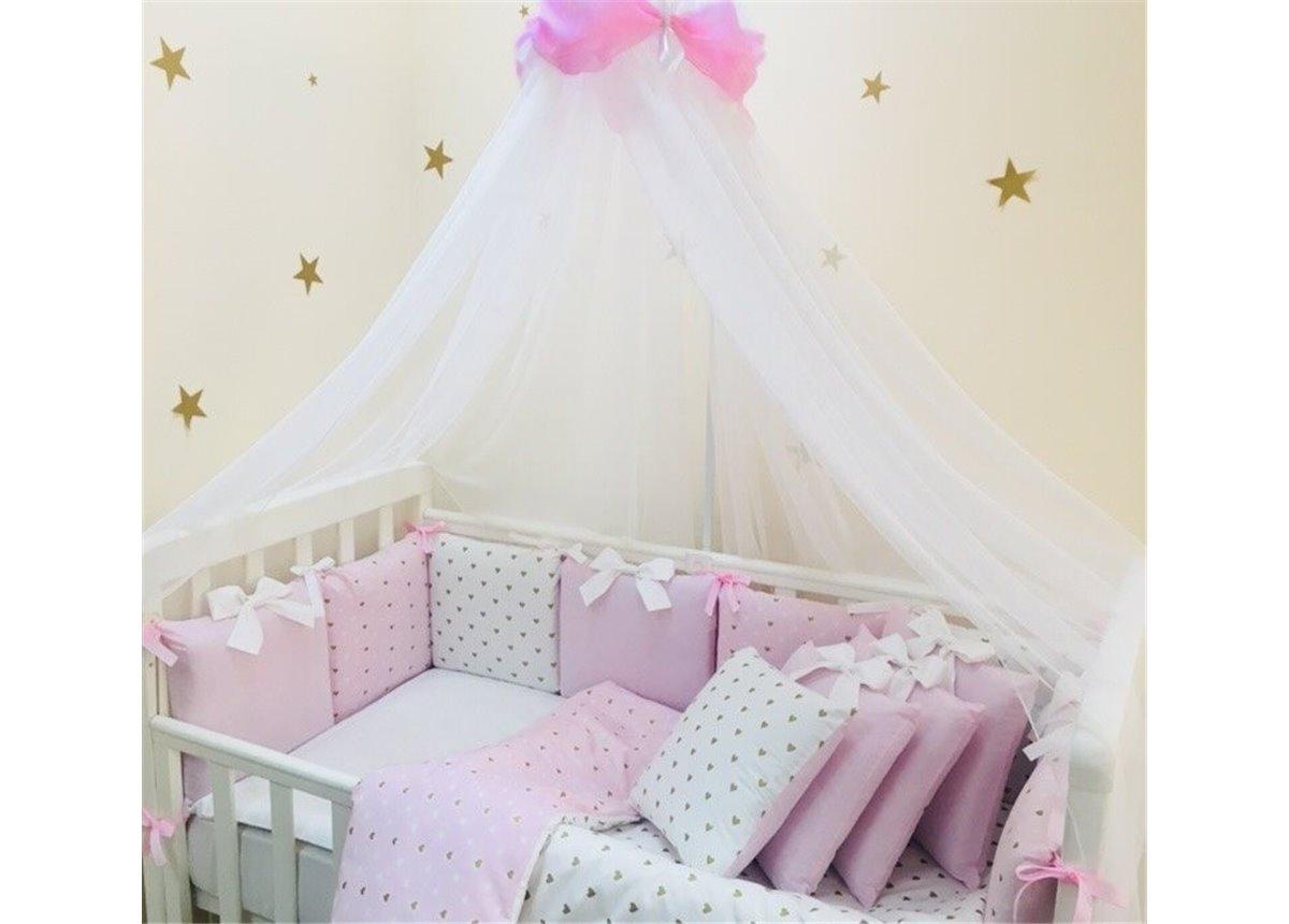 Комплект Shine сердечко (7 предметов) для круглых кроваток Маленькая Соня розовый