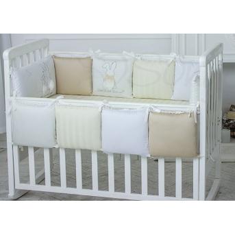 Набор постельного белья Зайчики молочный (7 предметов) Маленькая Соня