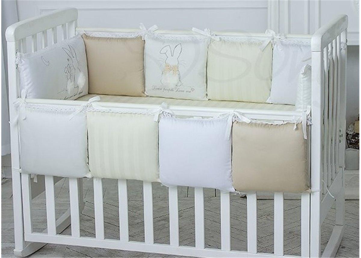 Сменный комплект постельного белья Зайчики молочный Маленькая Соня