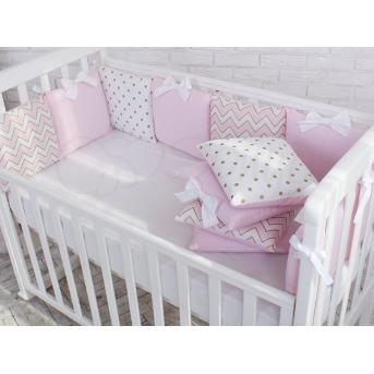 Защита Shine зигзаг+ простыня Маленькая Соня розовый