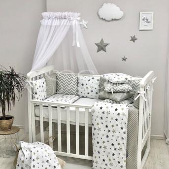 Комплект Baby Design Stars серо-бежевый (7 предметов) Маленькая Соня