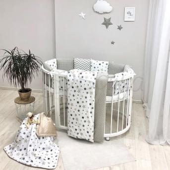 Комплект Baby Design Stars серо-бежевый (6 предметов) для круглых кроваток Маленькая Соня