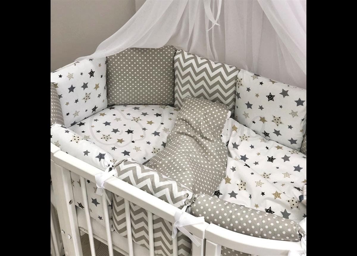 Бортики для круглых кроваток Baby Design Stars серо-бежевый + простынь Маленькая Соня