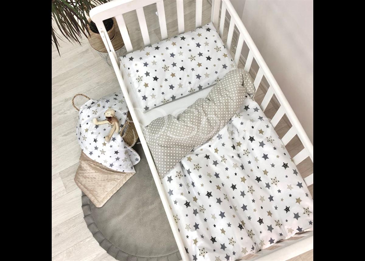 Сменный комплект постельного белья Baby Design Stars серо-бежевый Маленькая Соня