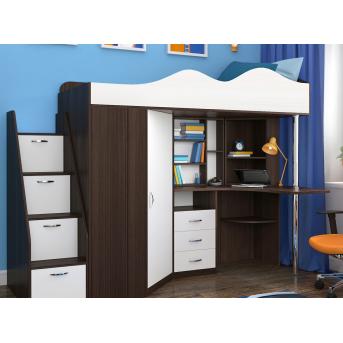 Кровать-чердак со столом 3-1 80x190 (101)