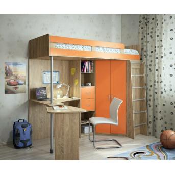 Кровать-чердак со столом 10-1 80x190 (101)