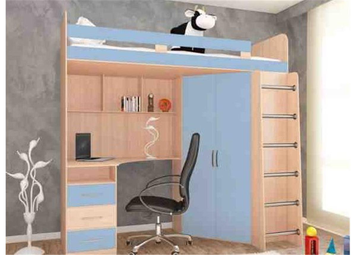 Кровать-чердак со столом 12-2 80x190 (101)
