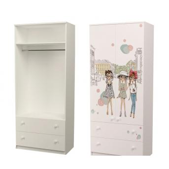 Шкаф с двумя ящиками верх для одежды Гламур 211x100x50
