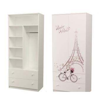 Шкаф с двумя ящиками (верх комбинированный) Париж MebelKon 50x80x211