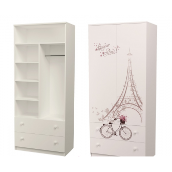 Шкаф с двумя ящиками (верх комбинированный) Париж MebelKon 50x100x211