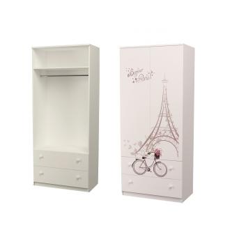 Шкаф с двумя ящиками верх для одежды Париж MebelKon 50x100x211