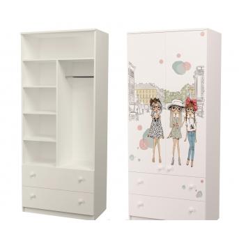 Шкаф с двумя ящиками (верх комбинированный) Гламур 211x80x50