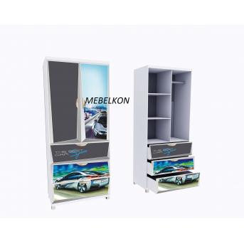 Шкаф А3 BMW Space серый фасады МДФ Глянец 190x80x50 MebelKon