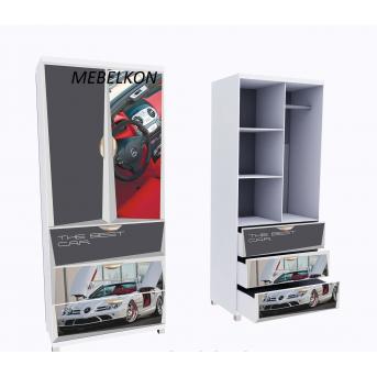 Шкаф А3 Mercedes красный фасады МДФ Глянец 190x80x50 MebelKon