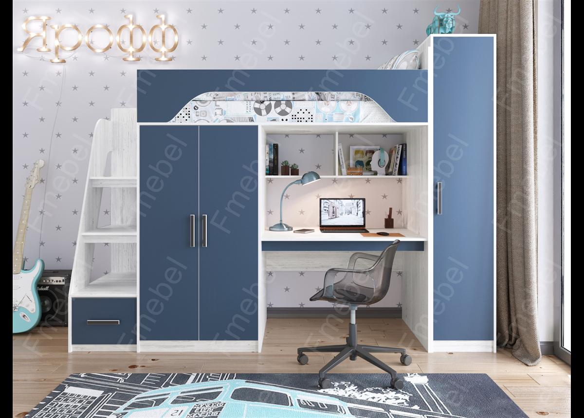 Кровать-чердак Тея со шкафом Fmebel 80х190