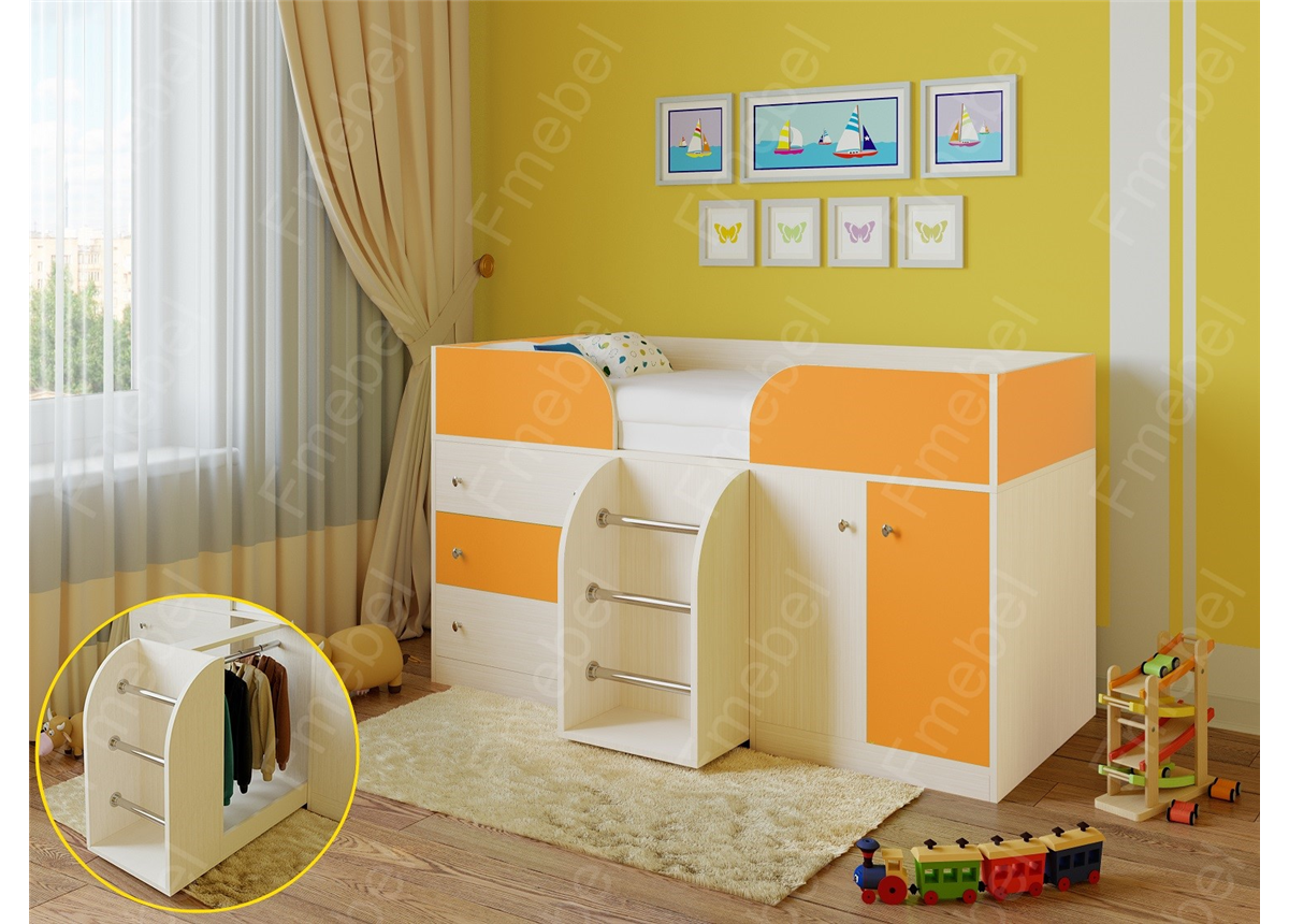 Кровать-чердак Астра-5 Fmebel 80х190