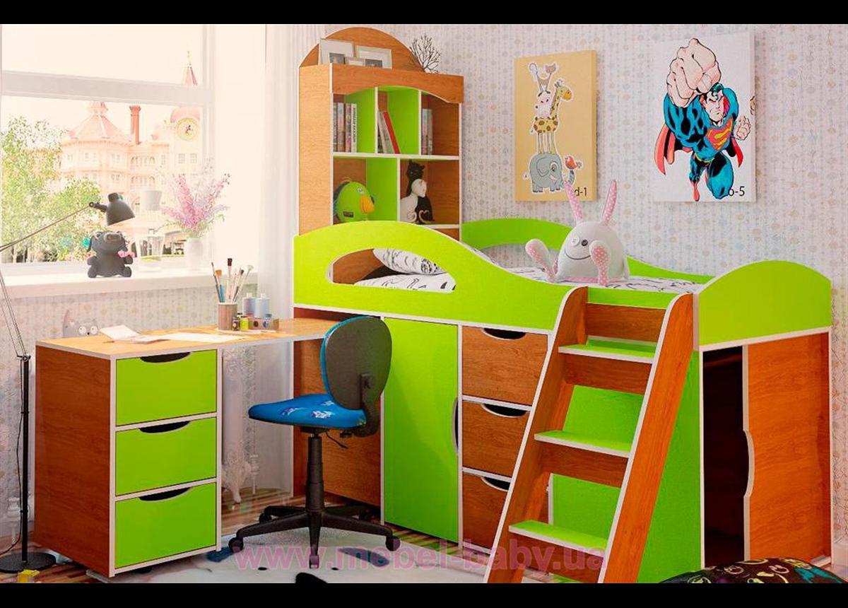 """Кровать-чердак со столом """"2"""" 80x170 (101)"""