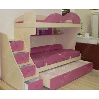 Двухъярусная кровать с дополнительным спальным местом КЧТ 103 Fmebel