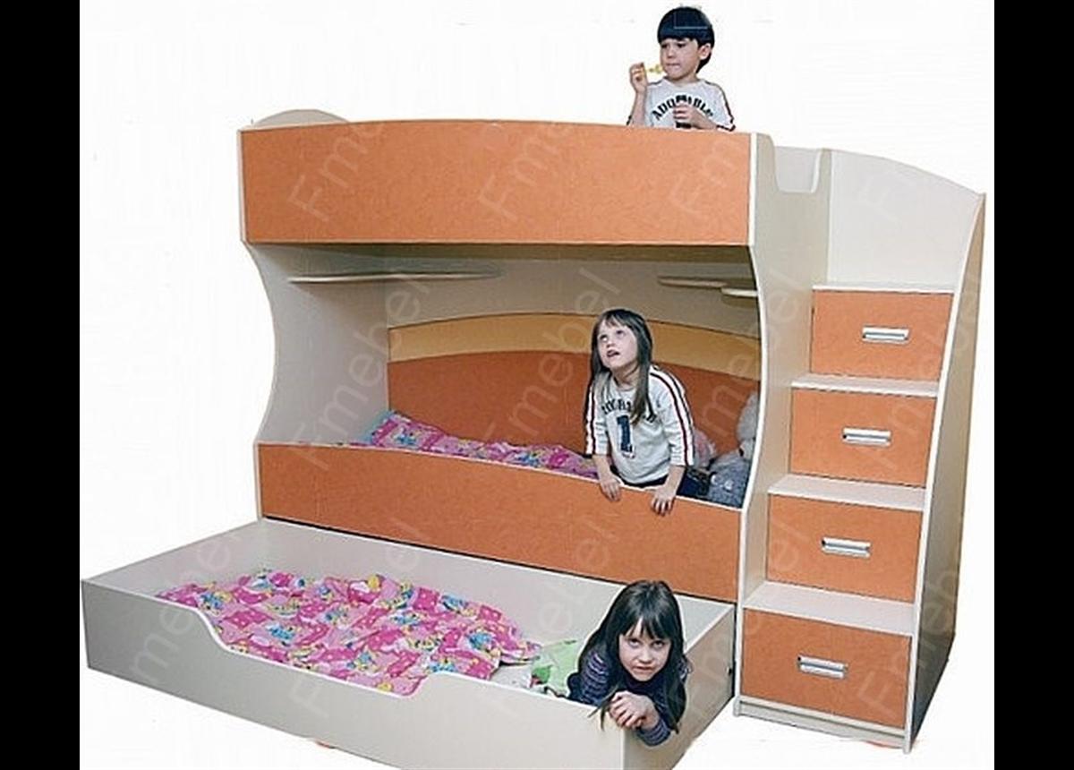 Двухъярусная кровать с дополнительным спальным местом КЧТ 107 Fmebel