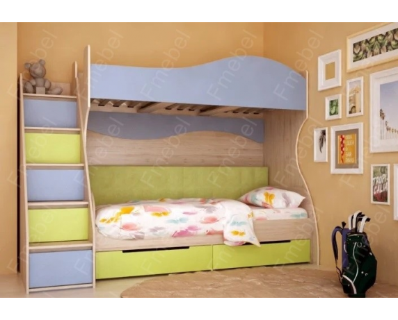 Двухъярусная кровать с дополнительным спальным местом Братислава Fmebel