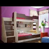 Двухъярусная кровать с дополнительным спальным местом Брюссель Fmebel