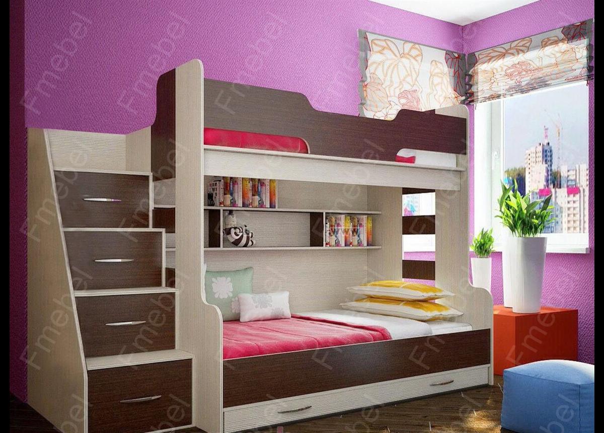 Двухъярусная кровать с дополнительным спальным местом КЧТ 113 Fmebel