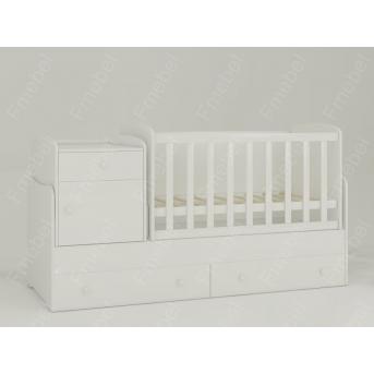 Кроватка-трансформер для новорожденных Metida 60х180 (60x120) Fmebel