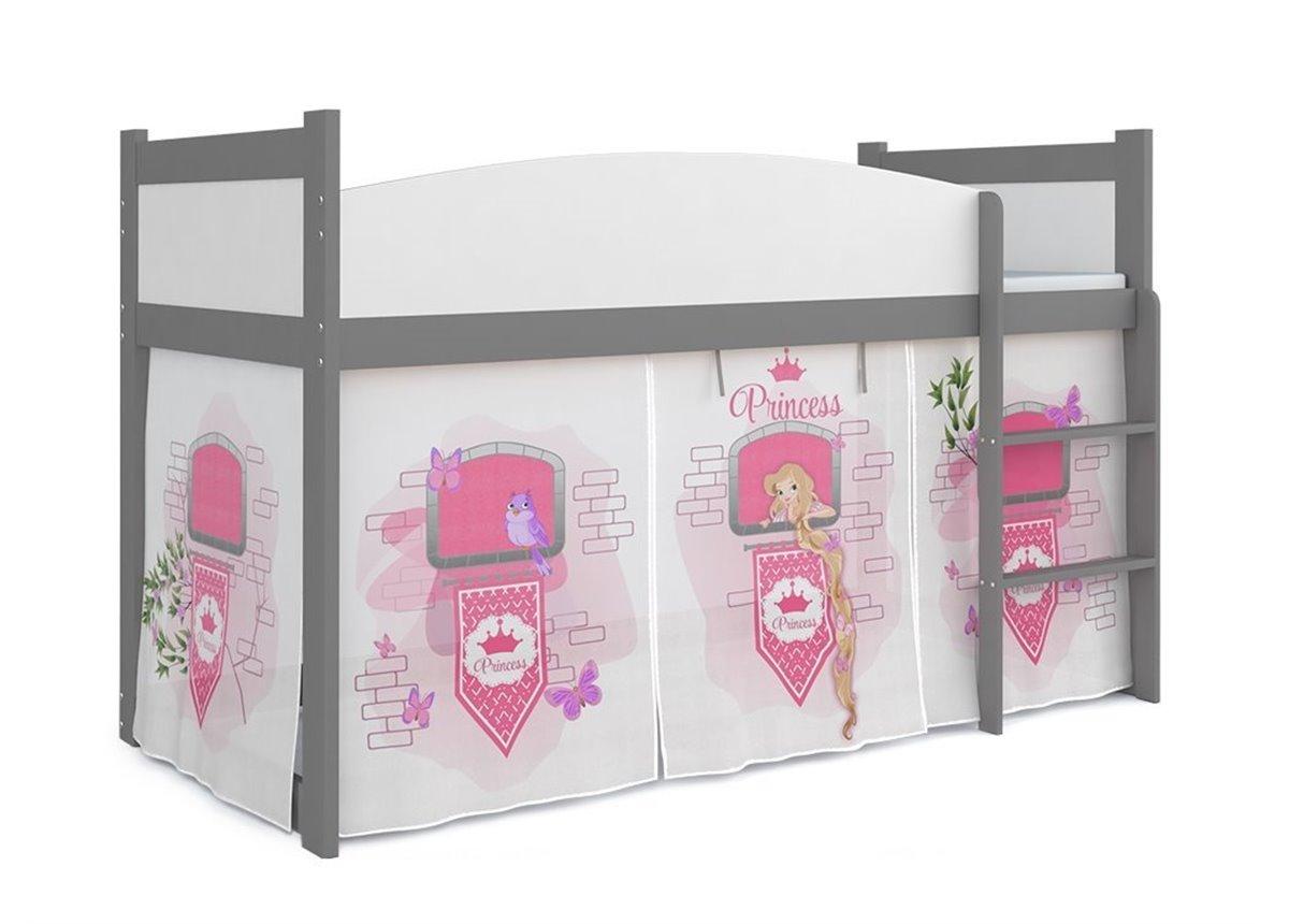 Кровать-чердак низкая ТВИСТ АНТРЕСОЛЬ для девочки Fmebel KA 80x184 Серый