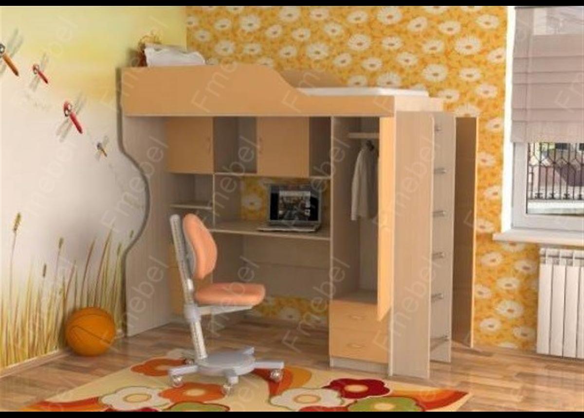 Кровать-чердак со столом КЧО 128 Fmebel