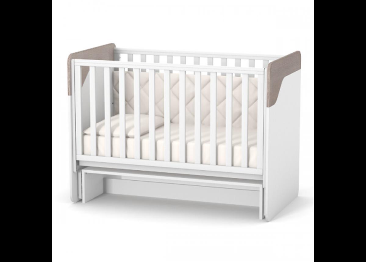 Кроватка с маятниковым механизмом без ящика Сидней ЛД4 Верес 60x120 капучино-белый