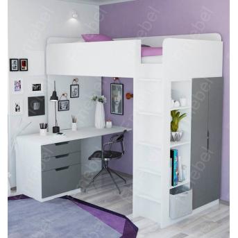 Кровать-чердак со столом Барбадос Fmebel 80х190