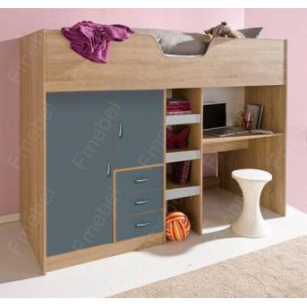 Кровать-чердак со столом ДМ 9043 Fmebel 90х190