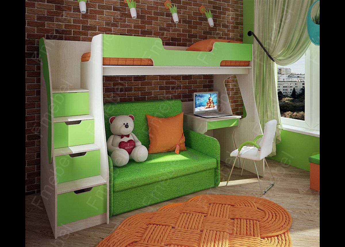 Кровать-чердак со столом КЧД 12 Fmebel 80x200