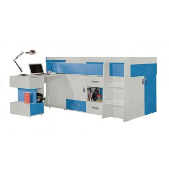 Кровать-чердак со столом ДМ 525 Fmebel 90x200