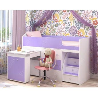 Кровать-чердак со столом Вайоминг Fmebel 80х190