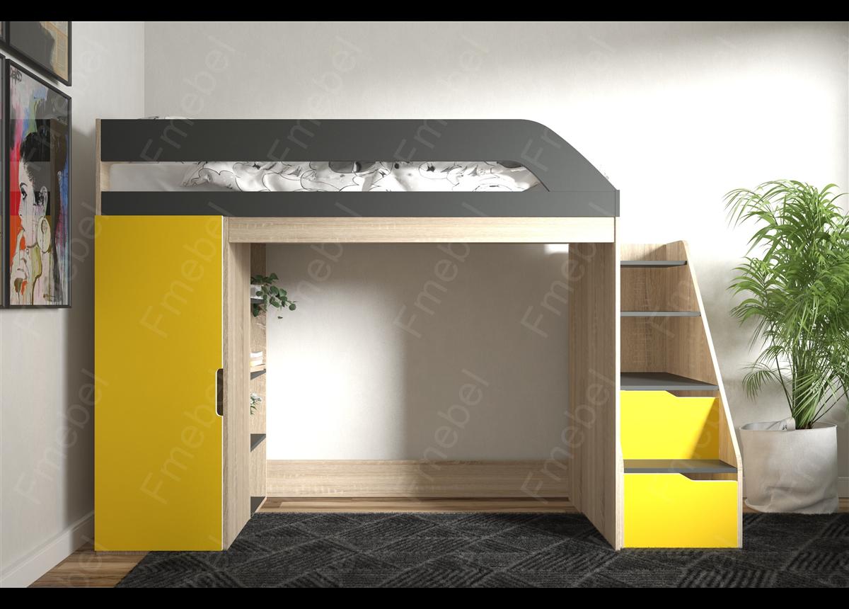 Кровать-чердак с игровой зоной КЧ 057 Fmebel 80х190