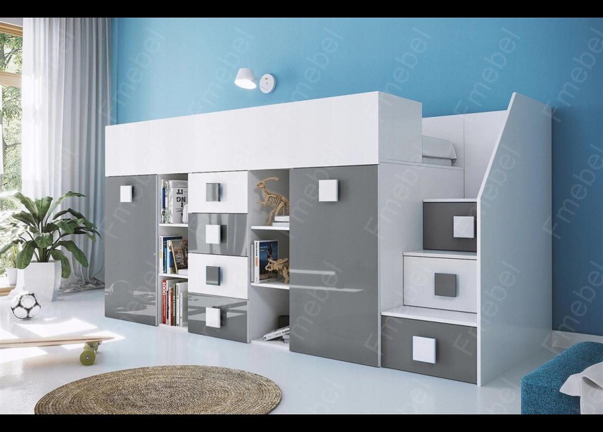 Кровать-чердак со шкафом КРК 4 Fmebel 90x200