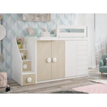 Кровать-чердак со шкафом ДКЧ 81 Fmebel 80x190
