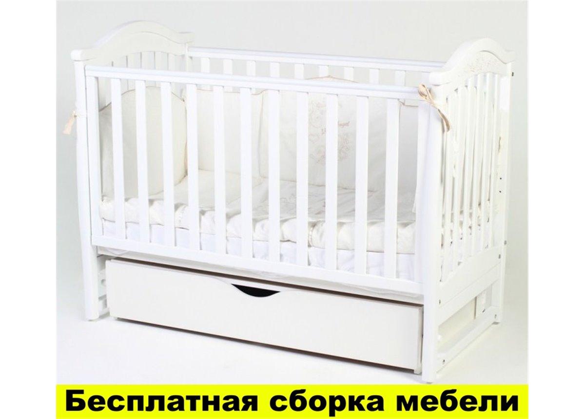 Распродажа Кроватка с ящиком и маятниковым механизмом Соня ЛД 3 ЕС Верес 60х120 Белый