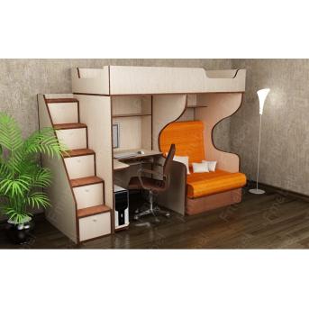Кровать-чердак с местом под диван КЧ 02 Fmebel 80x200